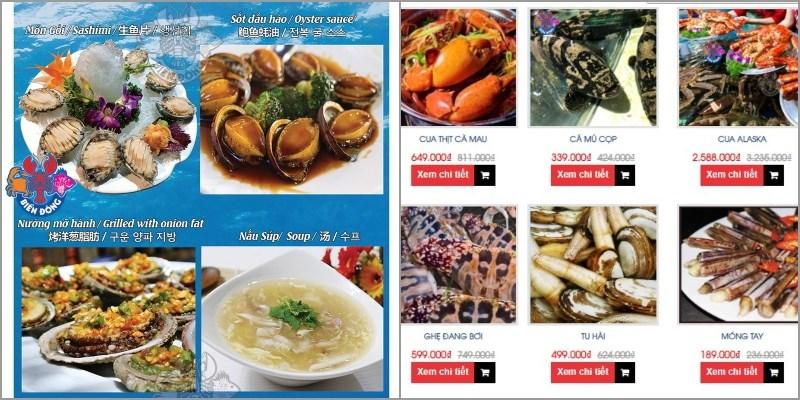 Thực đơn của Nhà hàng Hải Sản Biển Đông