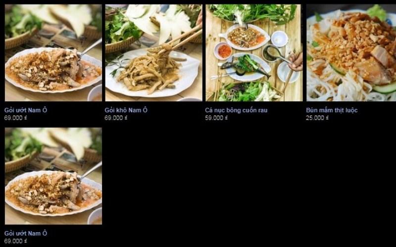 Các món ăn chính phục vụ tại quán