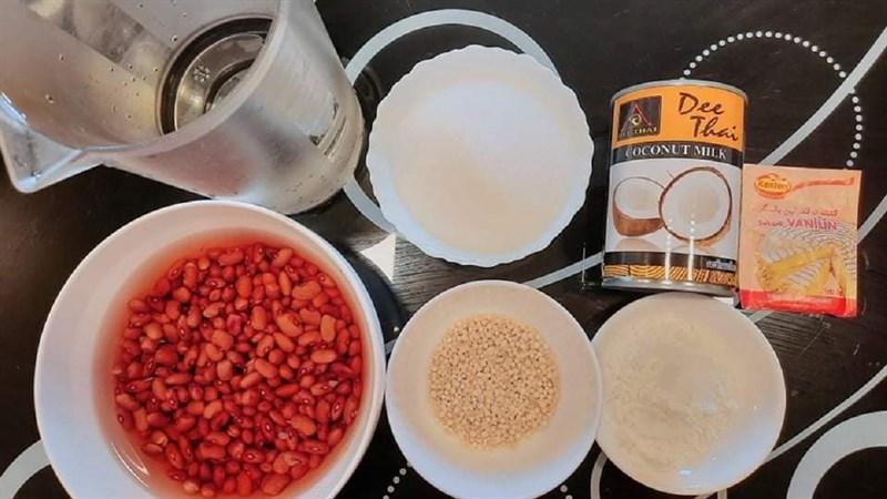 Nguyên liệu món ăn chè đậu đỏ bột báng nước cốt dừa bằng nồi áp suất