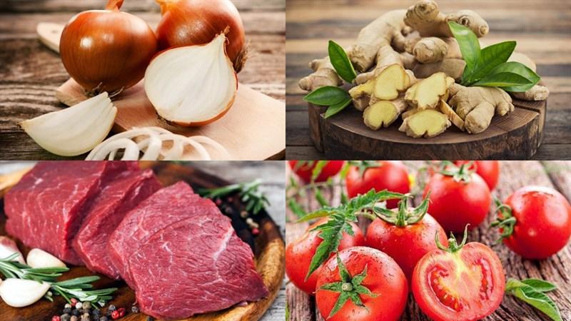 Nguyên liệu món ăn bò sốt cà chua