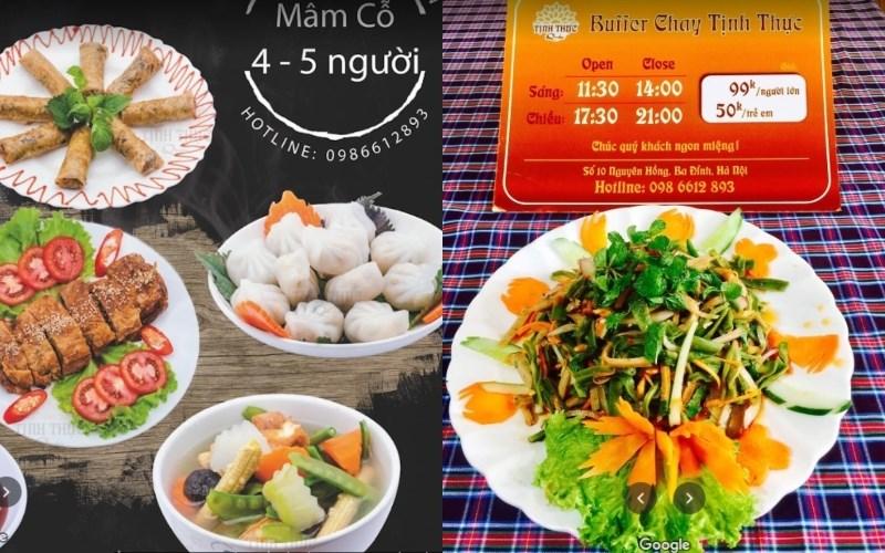menu Nhà hàng Buffet Chay Tịnh Thực Quán