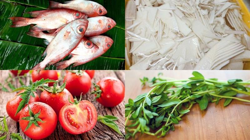 Nguyên liệu món ăn canh cá bã trầu nấu măng chua