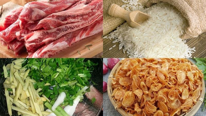 Nguyên liệu món ăn cháo sườn bò