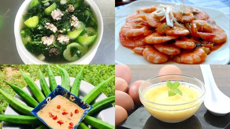 Thực đơn 1: Canh rau ngót thịt băm, tôm rang mặn ngọt, đậu bắp luộc, trứng hấp