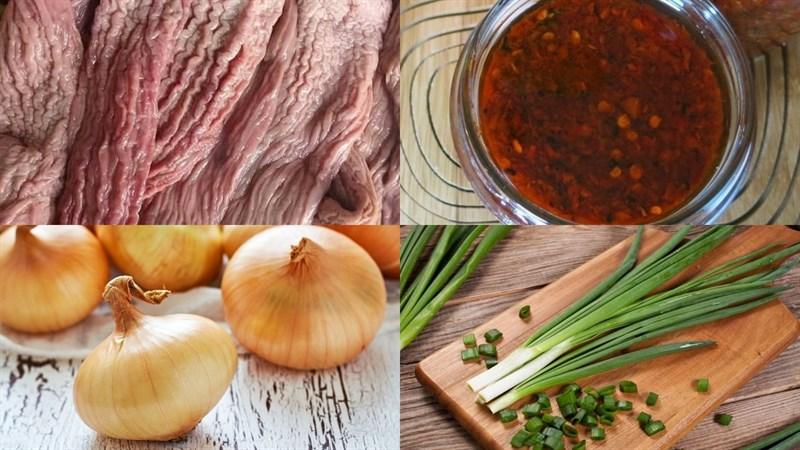Nguyên liệu món ăn bao tử cá ngừ xào sa tế