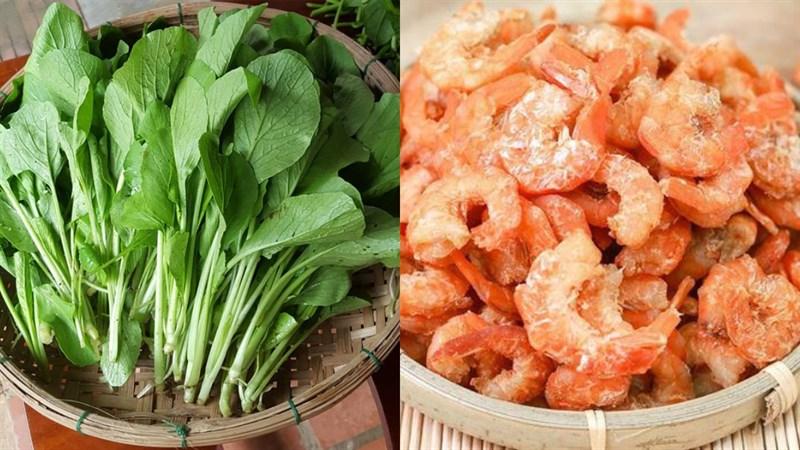 Nguyên liệu món ăn canh cải ngọt tôm khô