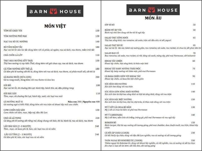 menu quán  Barn House BBQ and Beer