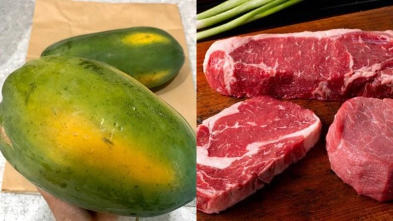 Nguyên liệu món ăn canh đu đủ thịt bò