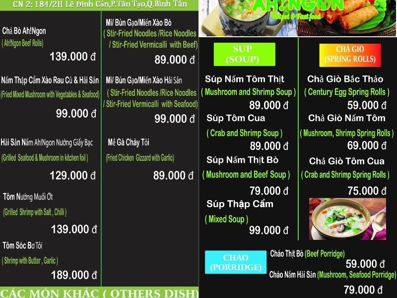 menu Ah! Ngon Quán