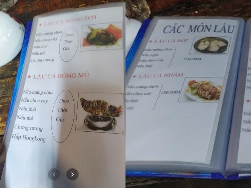 menu Quán Lẩu Bò Tư Công Viên