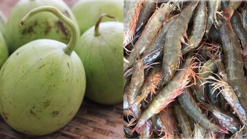 Nguyên liệu món ăn canh dưa hồng nấu tôm