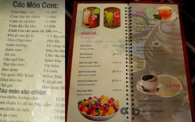 menu nhà Hàng Chay An Lạc
