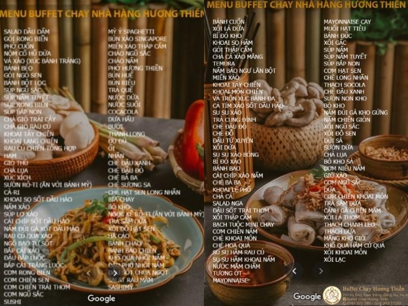menu Nhà Hàng Buffet Chay Hương Thiền