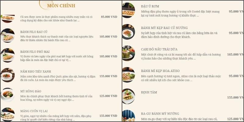 menu Nhà Hàng Chay Vị Lai