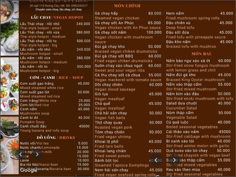 menu Nhà Hàng Cơm Chay An Phúc
