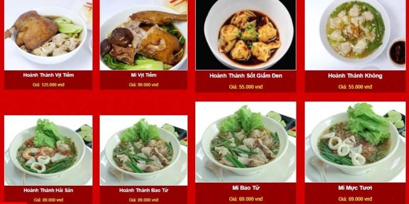 menu Quán Hồng Ký Mì Gia