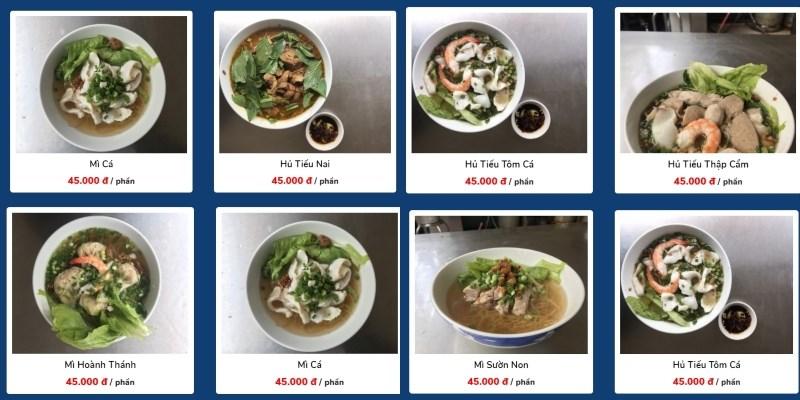 menu Quán Hủ Tiếu Mì Triều Châu