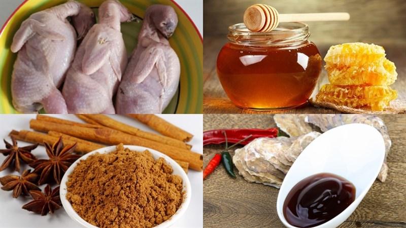 Nguyên liệu món ăn 2 cách ướp chim cút nướng mật ong