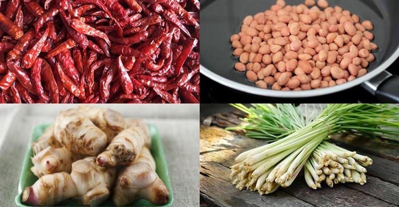 Nguyên liệu món ăn đậu phộng rang sả ớt