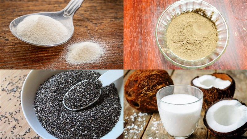 Nguyên liệu món ăn sương sáo hạt chia, sương sáo hạt chia nước cốt dừa