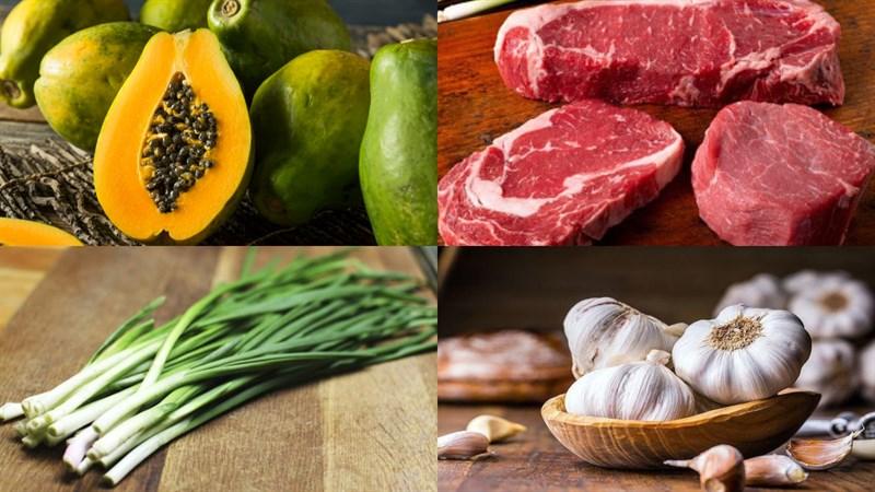 Nguyên liệu món ăn đu đủ xào thịt bò