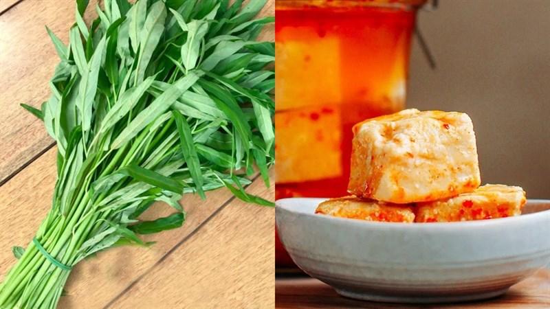 Nguyên liệu món ăn rau muống xào chao