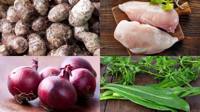 Nguyên liệu món ăn canh khoai sọ thịt gà