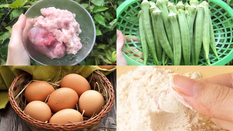 Nguyên liệu món ăn đậu bắp nhồi thịt chiên giòn