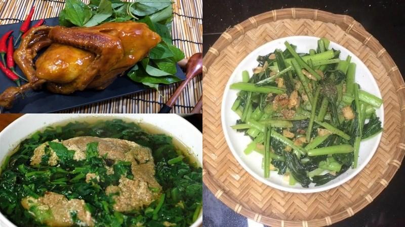 Bữa trưa: Vịt khìa, canh cua rau đay, cải ngọt xào tỏi