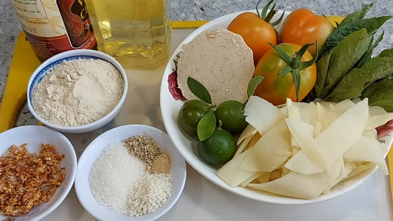 Nguyên liệu món ăn canh măng chua chay