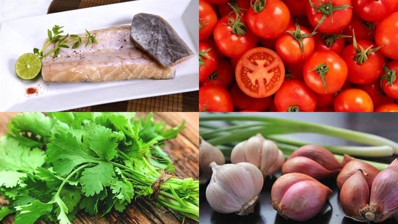 Nguyên liệu món ăn lườn cá thu chiên sốt cà chua