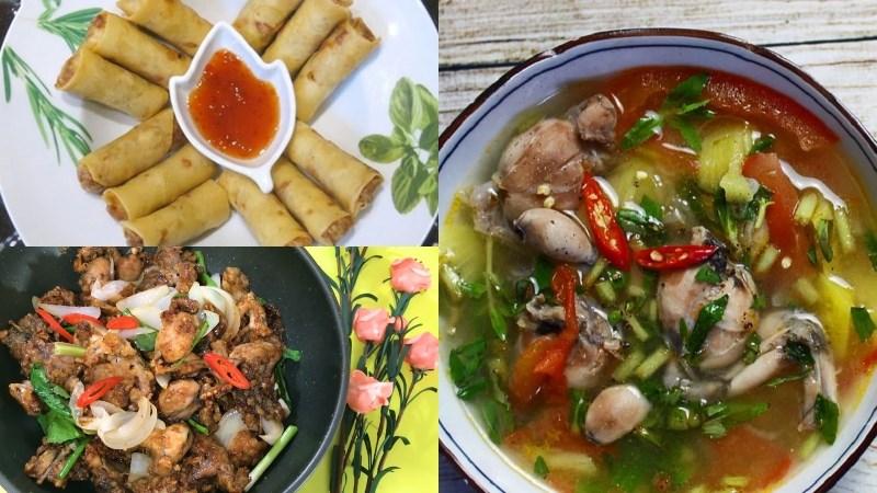 Bữa trưa: Chả giò, ếch xào hành, canh chua ếch