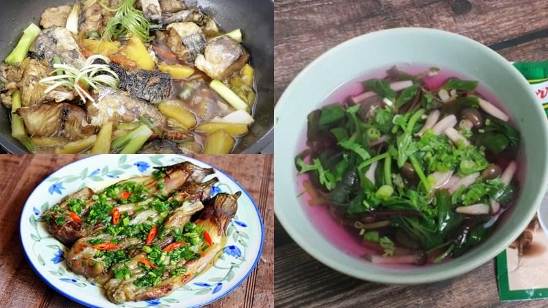 Bữa trưa: Cá nục kho dứa, cà tím nướng mỡ hành, canh nấm rau dền