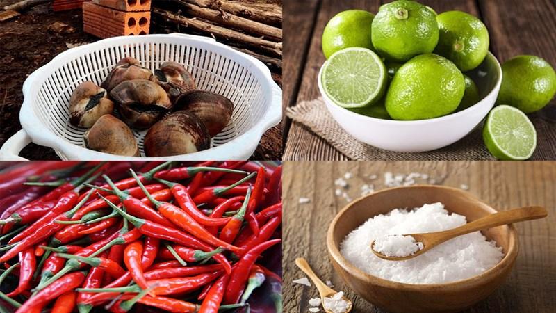 Nguyên liệu món ăn sò sữa nướng mỡ hành và ớt chanh