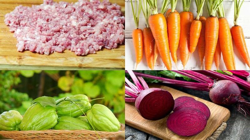 Nguyên liệu món ăn canh thịt viên rau củ