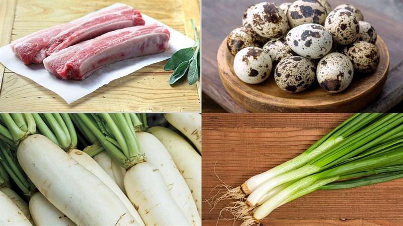 Nguyên liệu món ăn thịt kho trứng cút củ cải