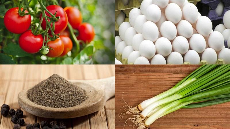 Nguyên liệu món ăn trứng hấp cà chua