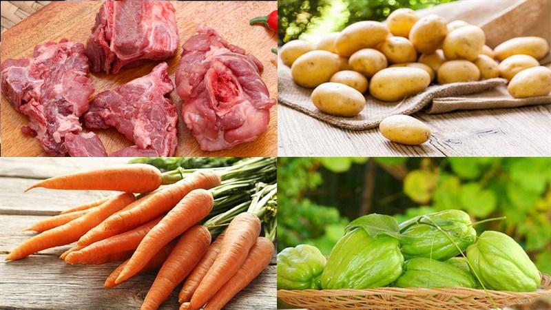 Nguyên liệu món ăn canh rau củ hầm xương