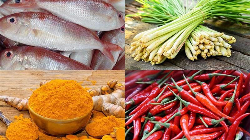 Nguyên liệu món ăn cách làm cá hường chiên sả ớt