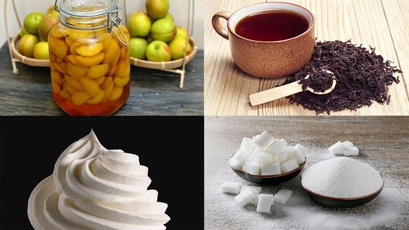 Nguyên liệu món ăn trà đào đá xay