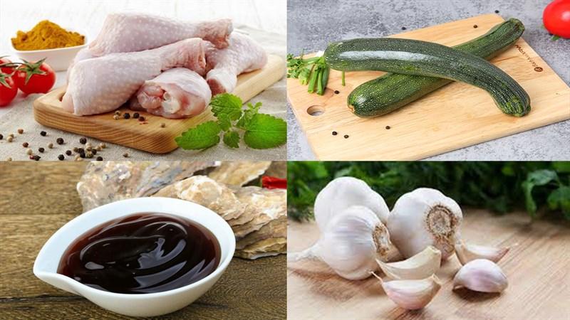 Nguyên liệu món ăn thịt gà xào bí ngòi