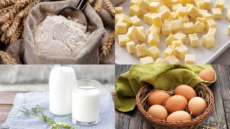 Nguyên liệu món ăn bánh mì nhân trứng sữa (custard)