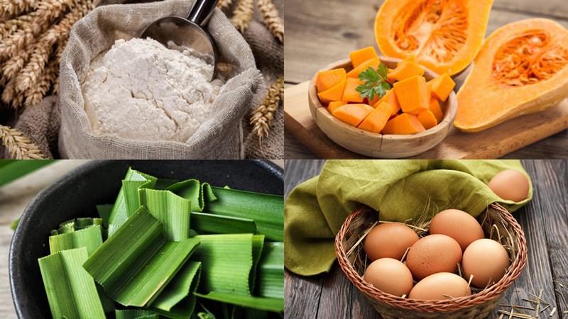 Nguyên liệu món ăn bánh crepe cuộn dừa từ lá dứa và bí đỏ