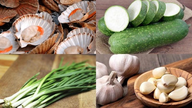 Nguyên liệu món ăn canh cồi sò điệp nấu bí đao