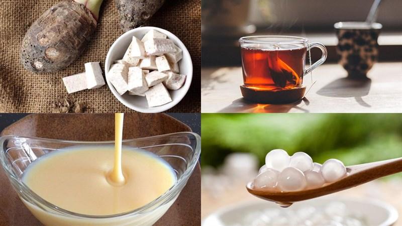 Nguyên liệu món ăn trà sữa khoai môn