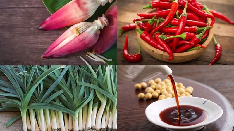 Nguyên liệu món ăn hoa chuối kho tiêu, cà và riềng