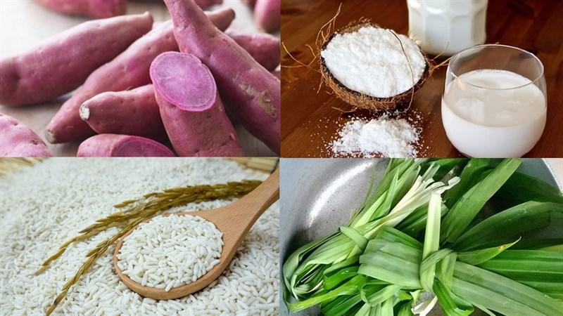 Nguyên liệu món ăn xôi khoai lang tím