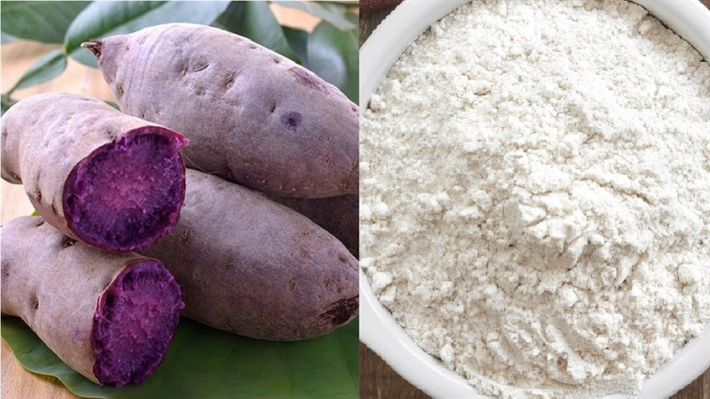 Nguyên liệu món ăn sợi bánh canh bằng khoai lang tím