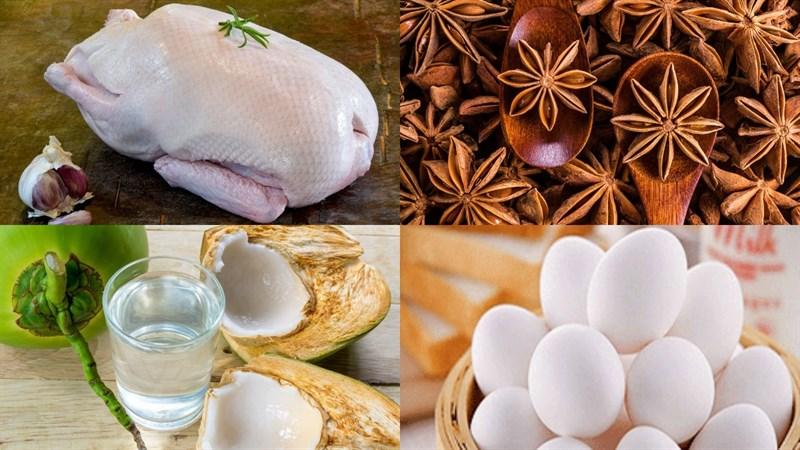Nguyên liệu món ăn vịt kho nước tương và vịt kho ngũ vị