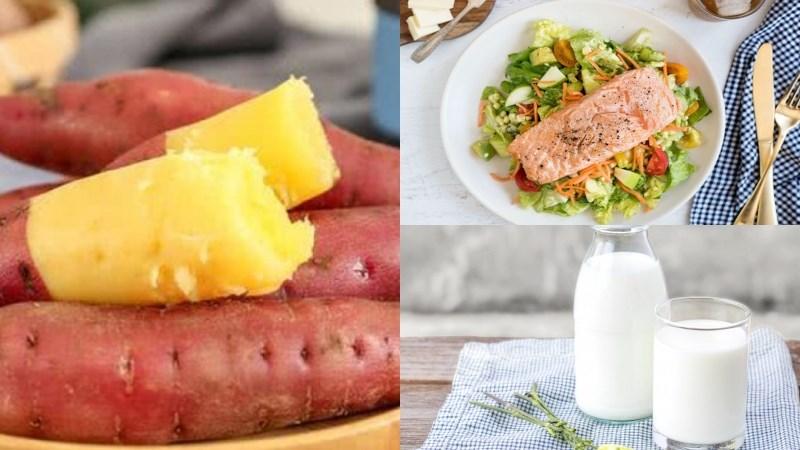 Bữa trưa: 1 củ khoai lang luộc, salad bơ hải sản, 1 ly sữa tươi không đường
